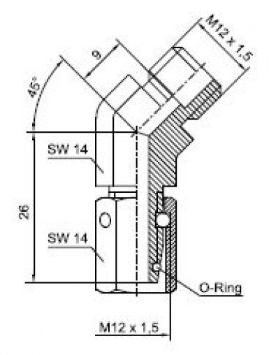 45° elbow connection with sealing taper